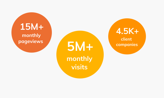 Over 15 million pageviews per month, Over 5 million visits per month, Over 4500 client companies