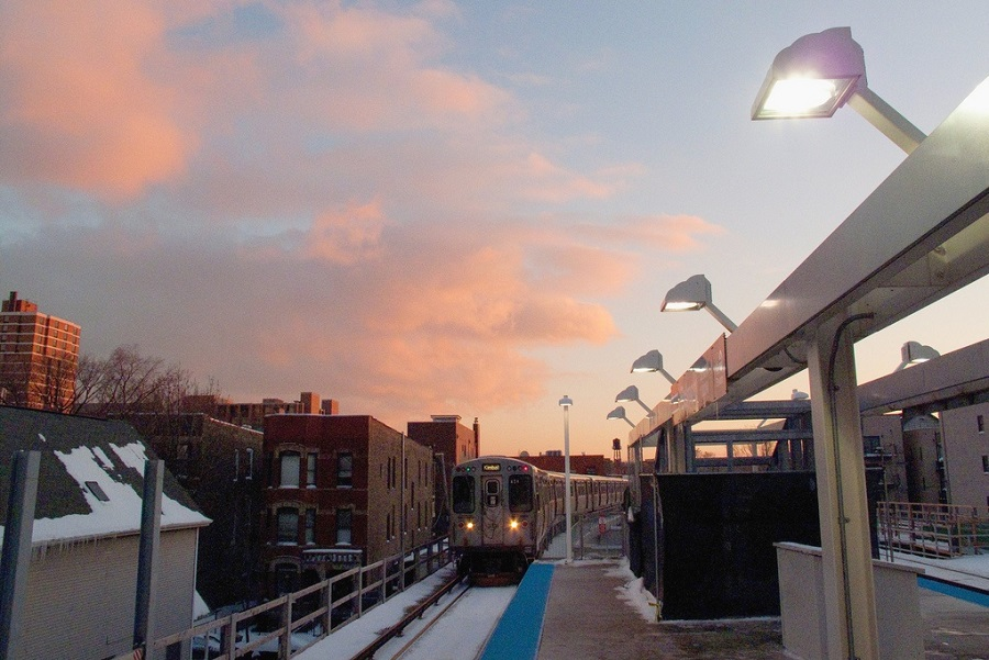 Belmont L Station in Chicago's Lakeview Neighborhood