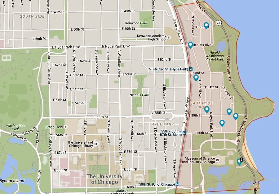 Map of Chicago's East Hyde Park neighborhood