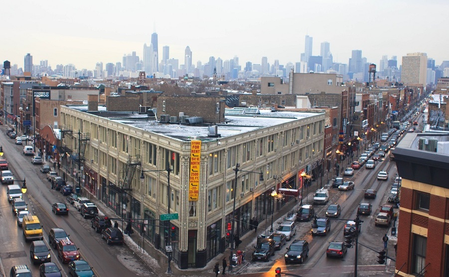 View of the Flatiron Arts Building in Wicker Park from the Coyote Tower