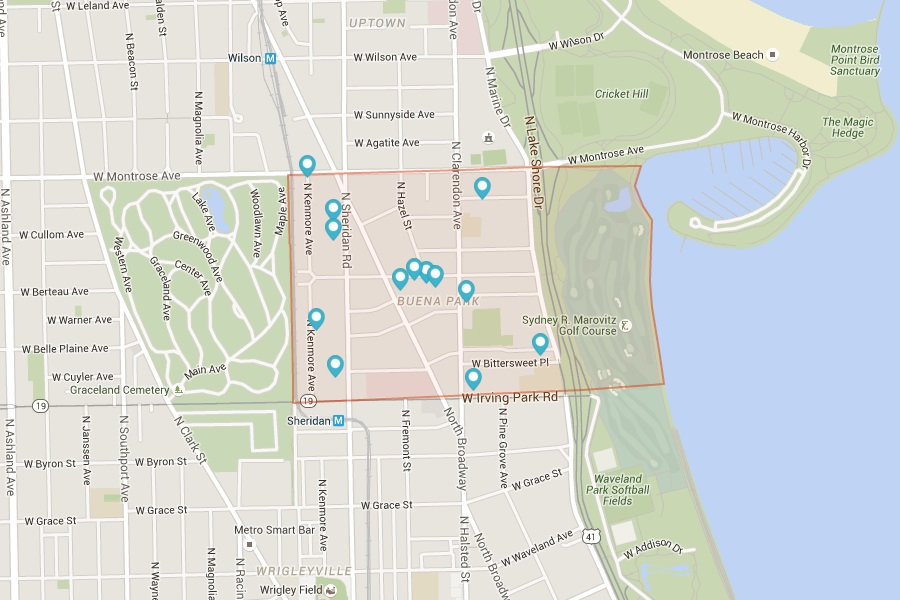 Map of Buena Park Chicago IL via Rentcafe