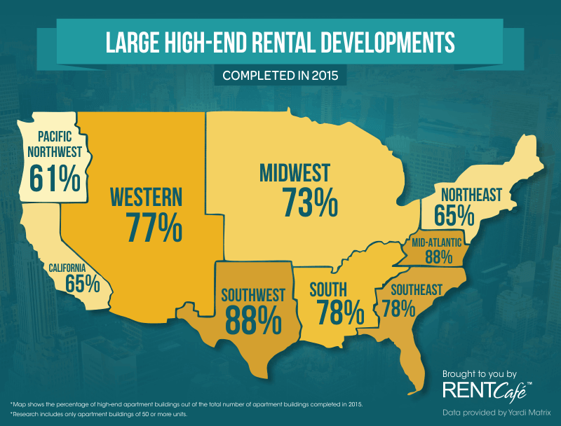 2015 High-End Rentals by Region Map by Rent Cafe