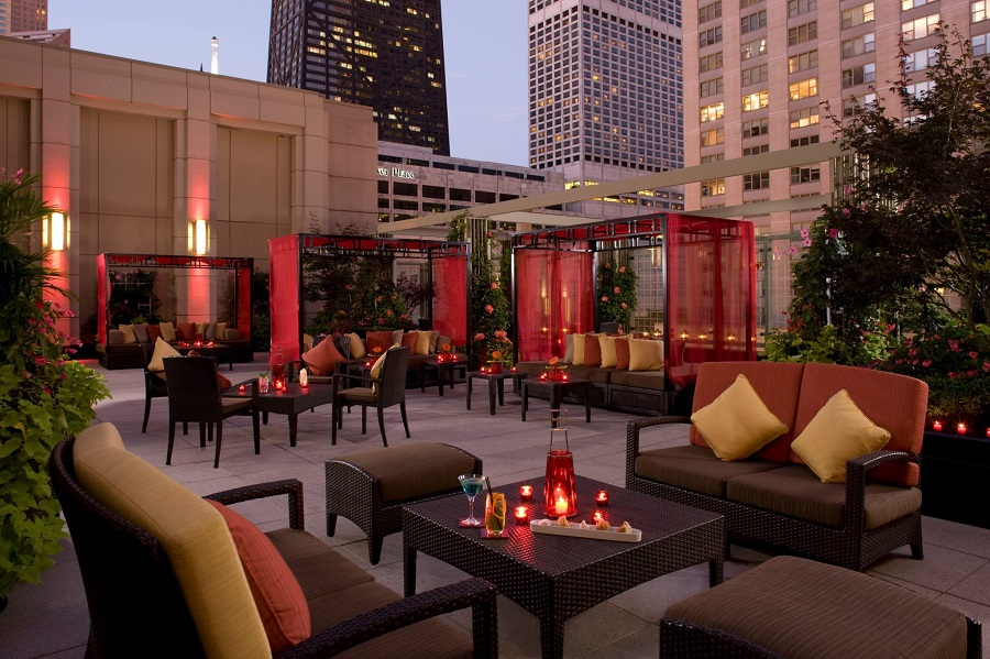 The Terrace at The Peninsula - open May through October, weather permitting. Image via The Peninsula Chicago Facebook Page.