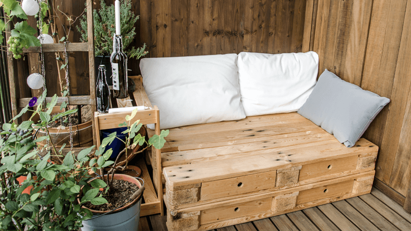 Wooden pallets on the balcony