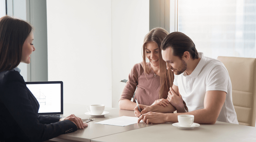 Application Process Couple Signing Lease