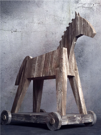 A large wooden horse