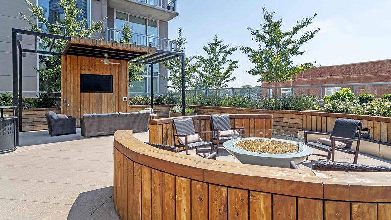 rooftop firepit piedmont house