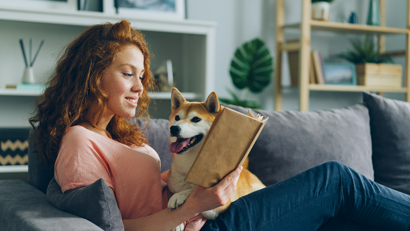 dog owner reading