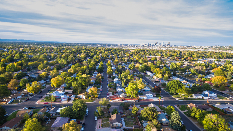 aerial view of houses in a Denver suburb