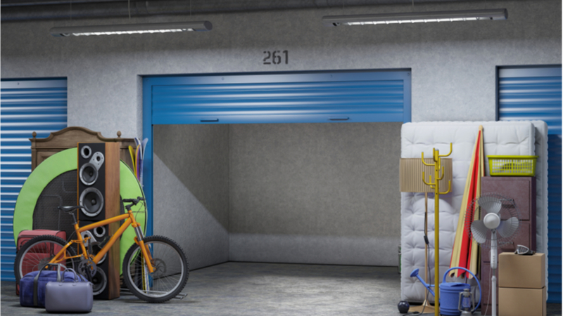 Self storage unit with possessions outside