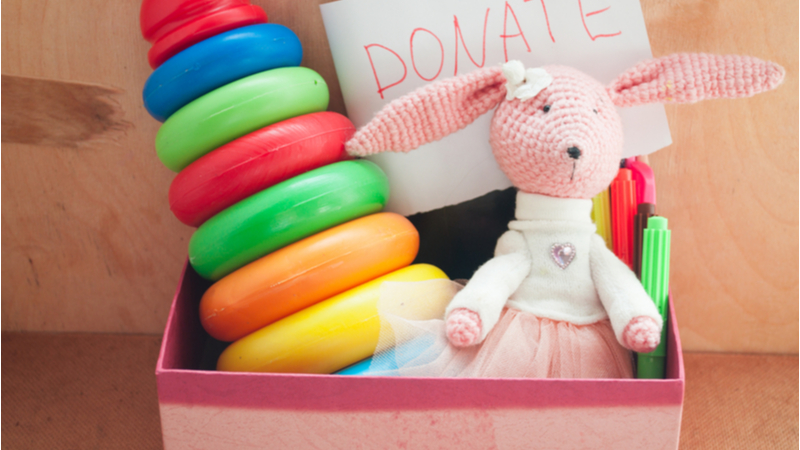 toys for donation in a box