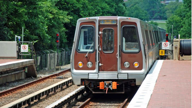 A train arrives in a station in one of the best neighborhoods in D.C., Fort Trotten