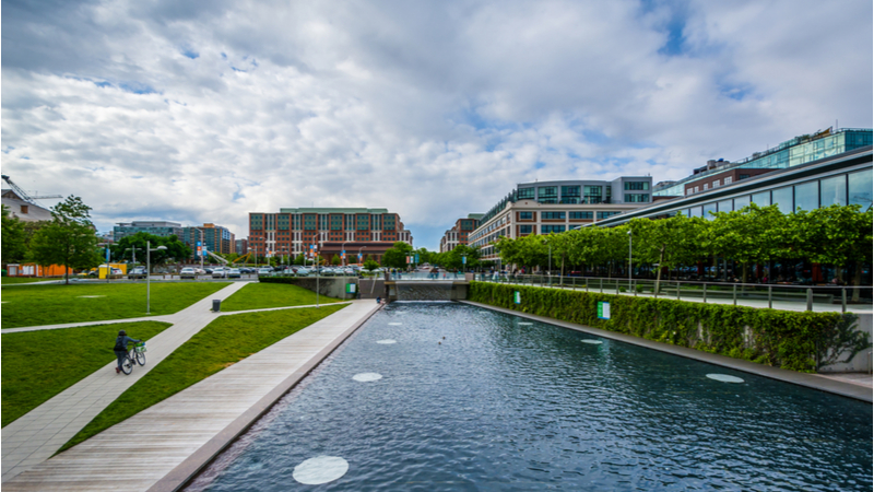 A riverbank and park in Navy Yard, one of the best neighborhoods in D.C.