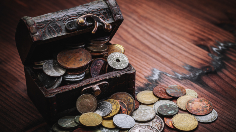 ancient coins in a chest